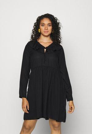 FRILL NECK LONG SLEEVE SMOCK DRESS - Kjole - black