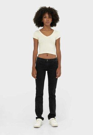 MIT TIEFEM BUND  - Jeans straight leg - dark grey