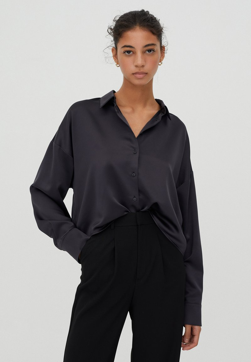 PULL&BEAR - Overhemdblouse - black