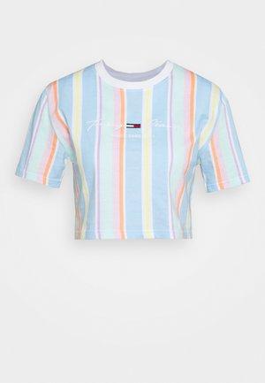 STRIPE CROP TEE - Print T-shirt - light powdery blue