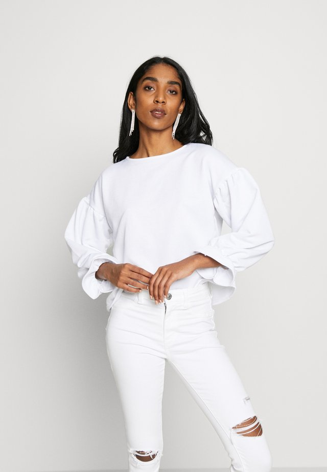 BALLOON SLEEVE FRILL CUFF - Collegepaita - white