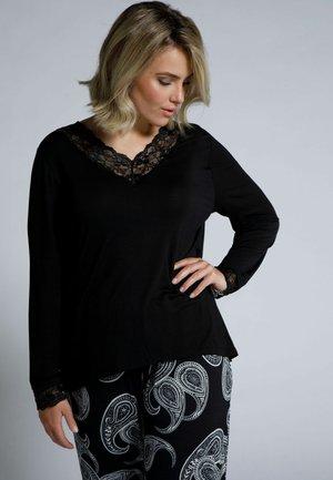 GROSSE GRÖSSEN V-AUSSCHNITT - Pyjama top - schwarz
