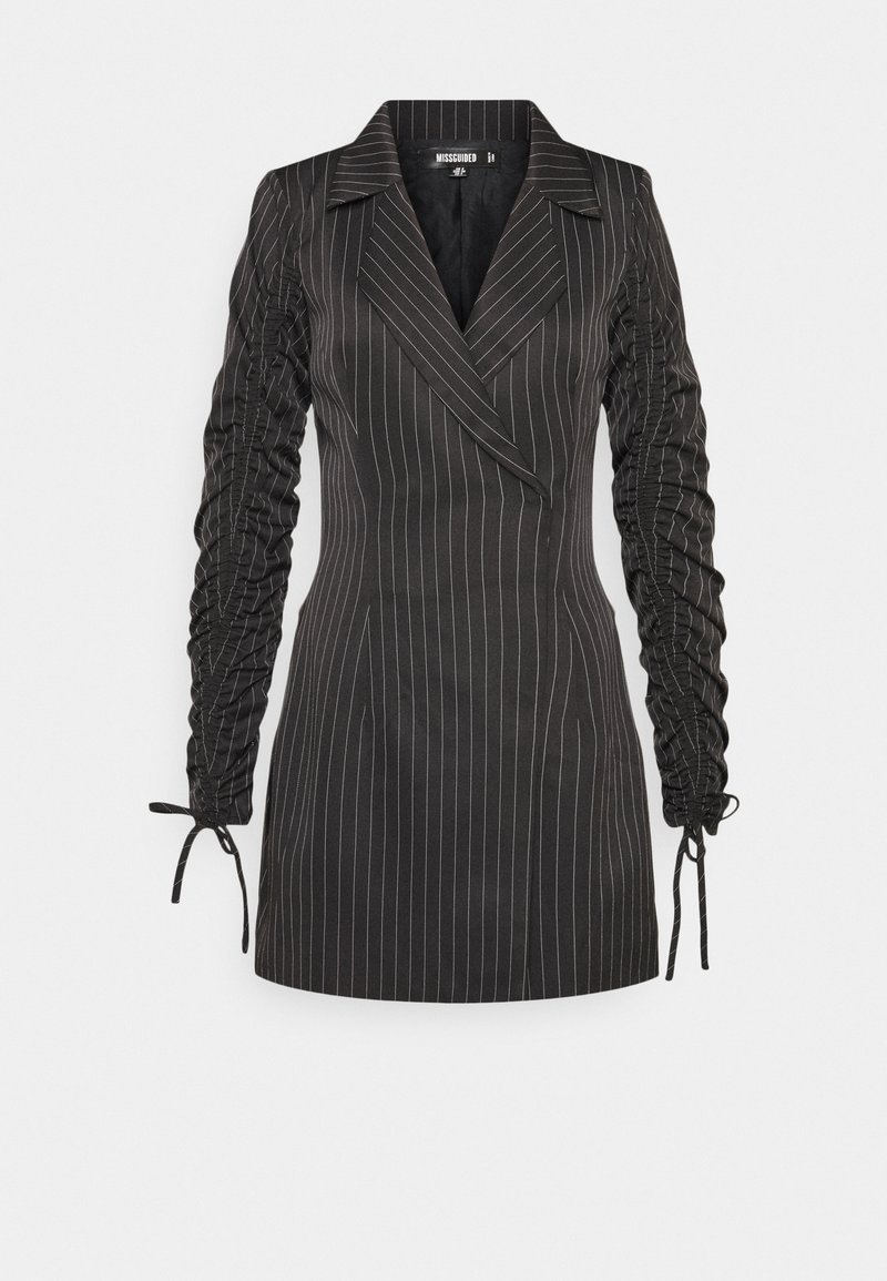 Missguided - RUCHED SLEEVE BLAZER DRESS PINSTRIPE - Kjole - black