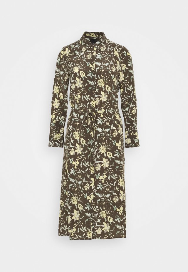 SHIRRED FRONT DRESS - Shirt dress - brown