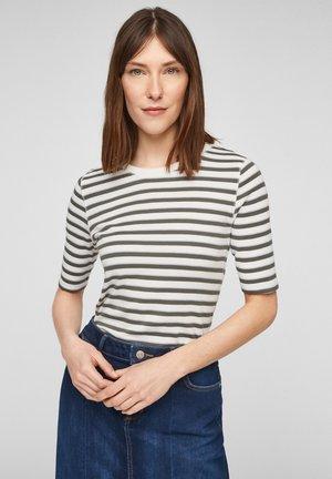 Print T-shirt - khaki stripes