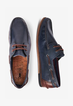 NAVY FORMAL TEXTURED LEATHER BOAT SHOES - Boat shoes - blue