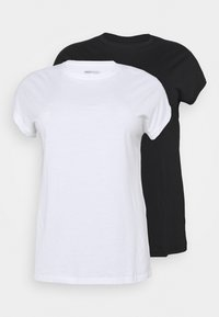 CAPSULE by Simply Be - BOYFRIEND 2 PACK - Basic T-shirt - black/white