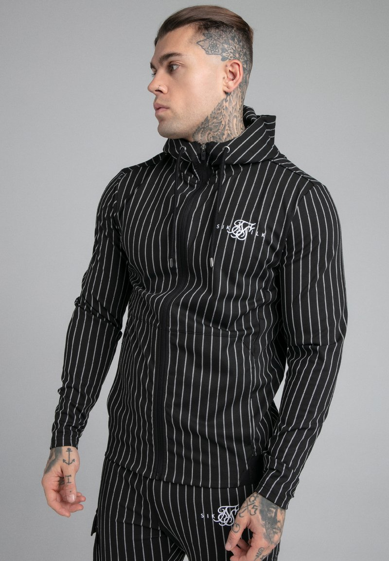 SIKSILK - DUAL STRIPE AGILITY ZIP THROUGH HOODIE - Zip-up hoodie - black/white