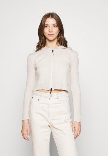 CROPPED ZIP HOODIE - Zip-up sweatshirt - ecru