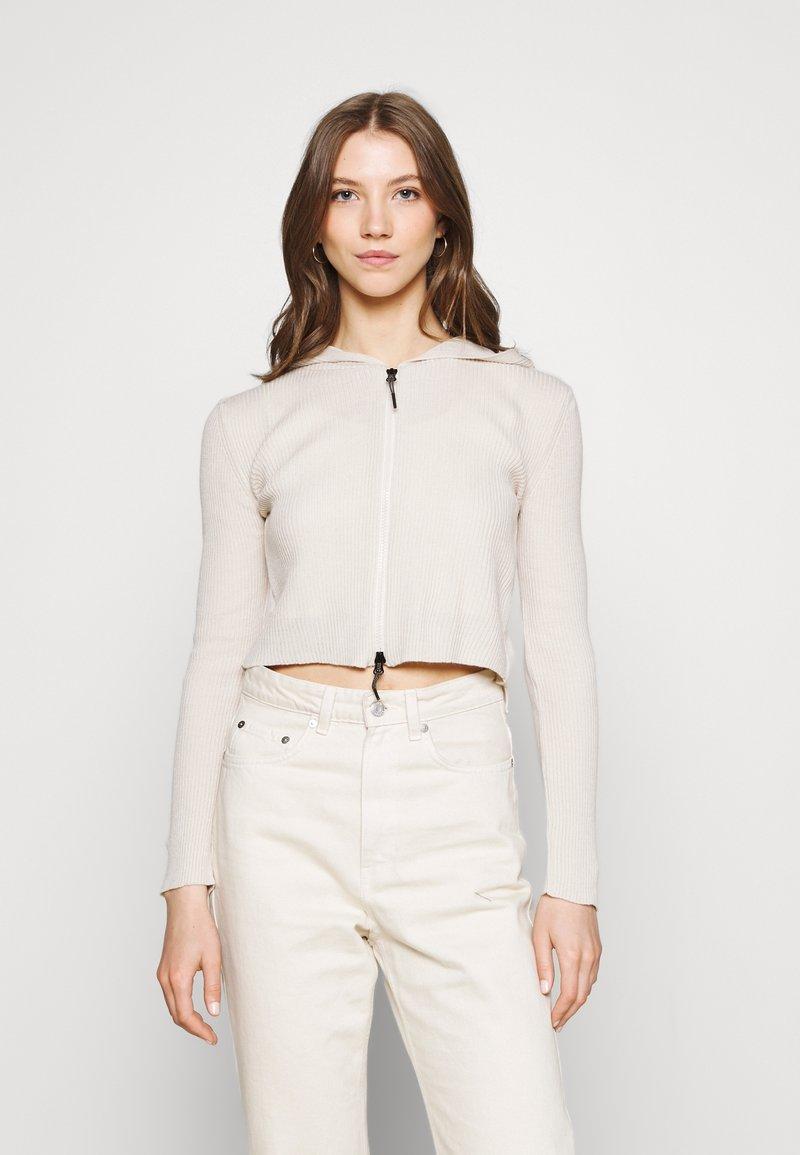 BDG Urban Outfitters - CROPPED ZIP HOODIE - Zip-up sweatshirt - ecru