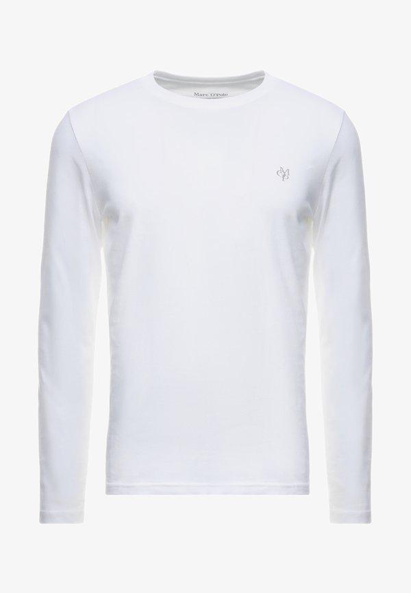 Marc O'Polo LONG SLEEVE ROUND NECK - Bluzka z długim rękawem - white/biały Odzież Męska XORZ