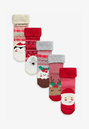 5 PACK CHRISTMAS CHARACTER - Socks - red