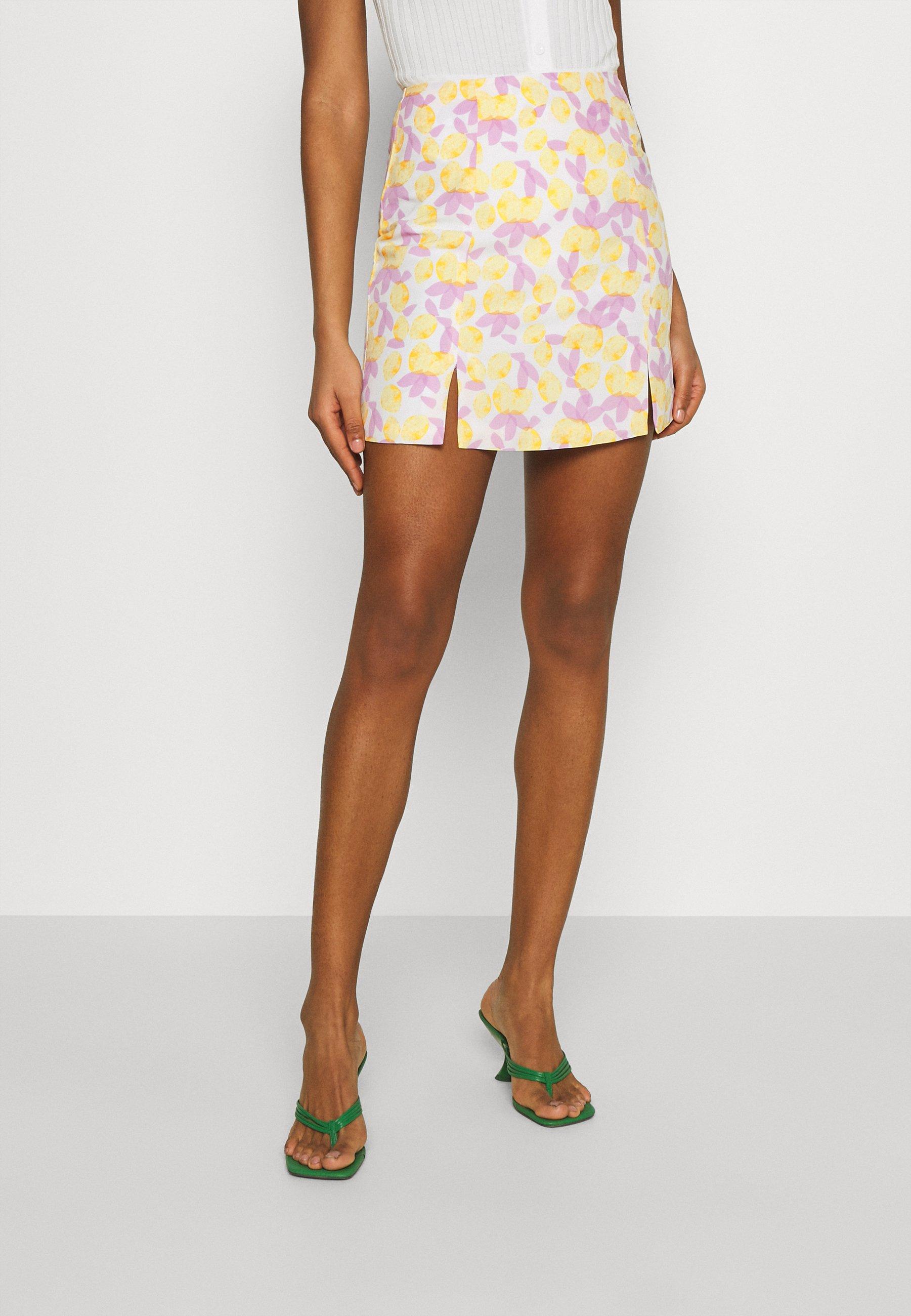 Women MAYA HIGH-WAISTED SKIRT WITH FRONT SIDE SPLITS - Mini skirt - lemon/lilac