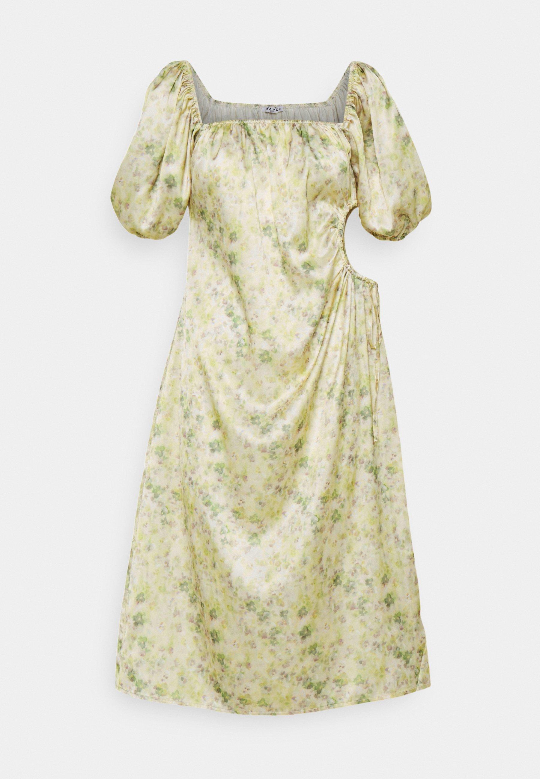 Women PUFF SLEEVE CUT OUT DRESS - Cocktail dress / Party dress - green