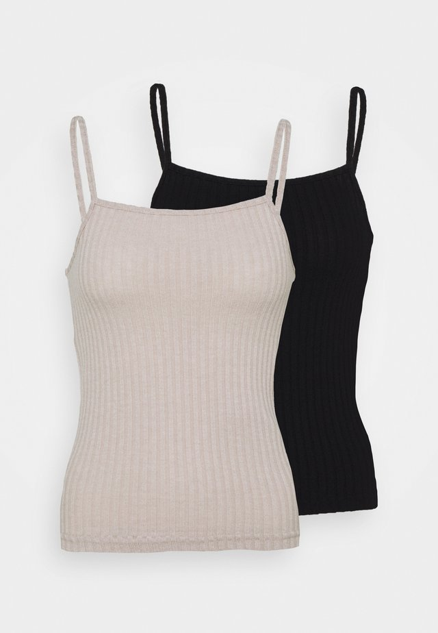 NMBERRY SINGLET 2 PACK - Topper - black/chateau gray