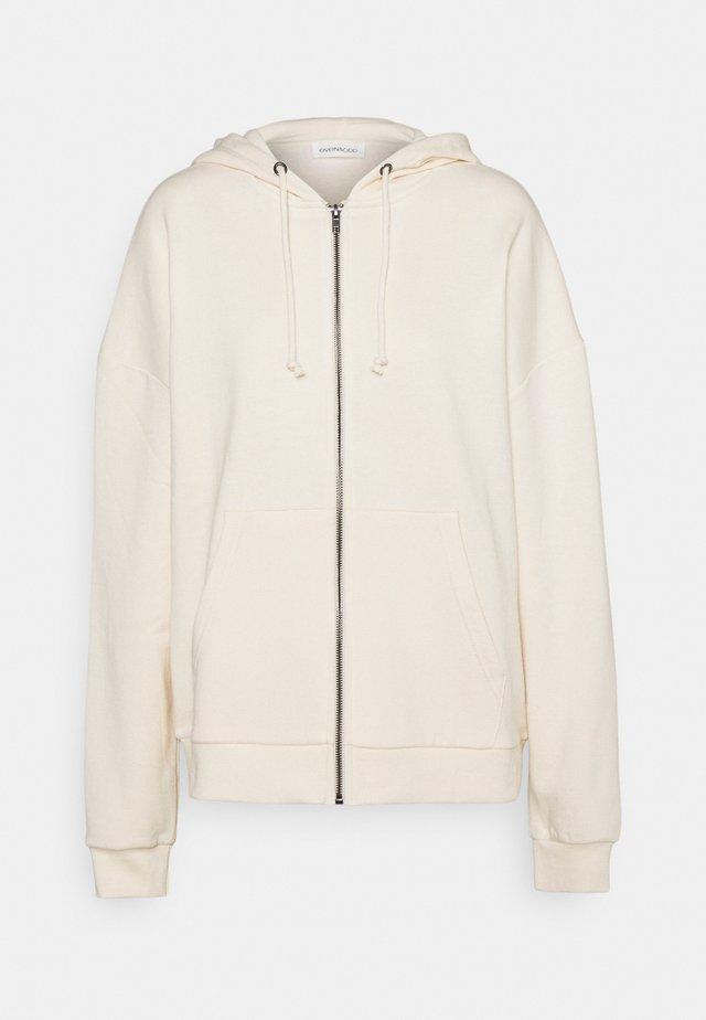 Oversized Hooded Sweat Jacket - Sudadera con cremallera - off-white