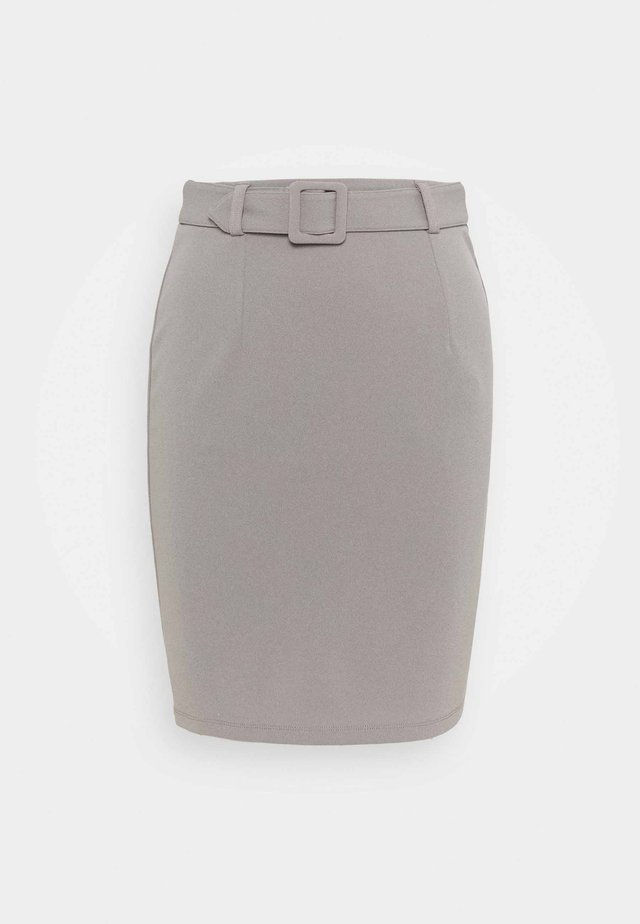 Mini pencil bodycon skirt with belt - Mini skirt - grey