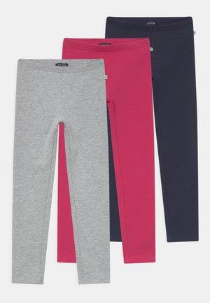 KIDS GIRLS 3 PACK - Leggings - Trousers - magenta/nachtblau/nebel