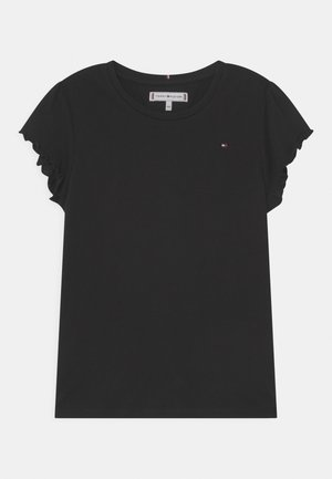 ESSENTIAL RUFFLE SLEEVE - T-shirt con stampa - black