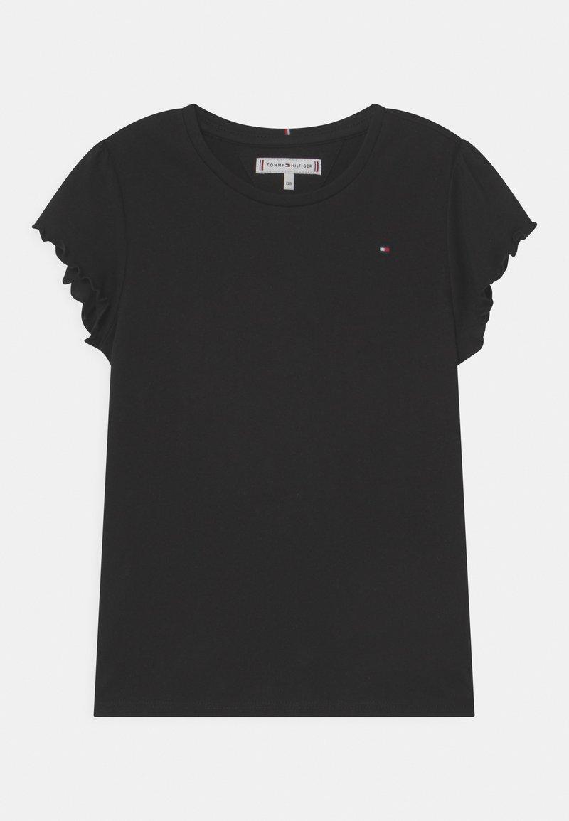 Tommy Hilfiger - ESSENTIAL RUFFLE SLEEVE - Camiseta estampada - black