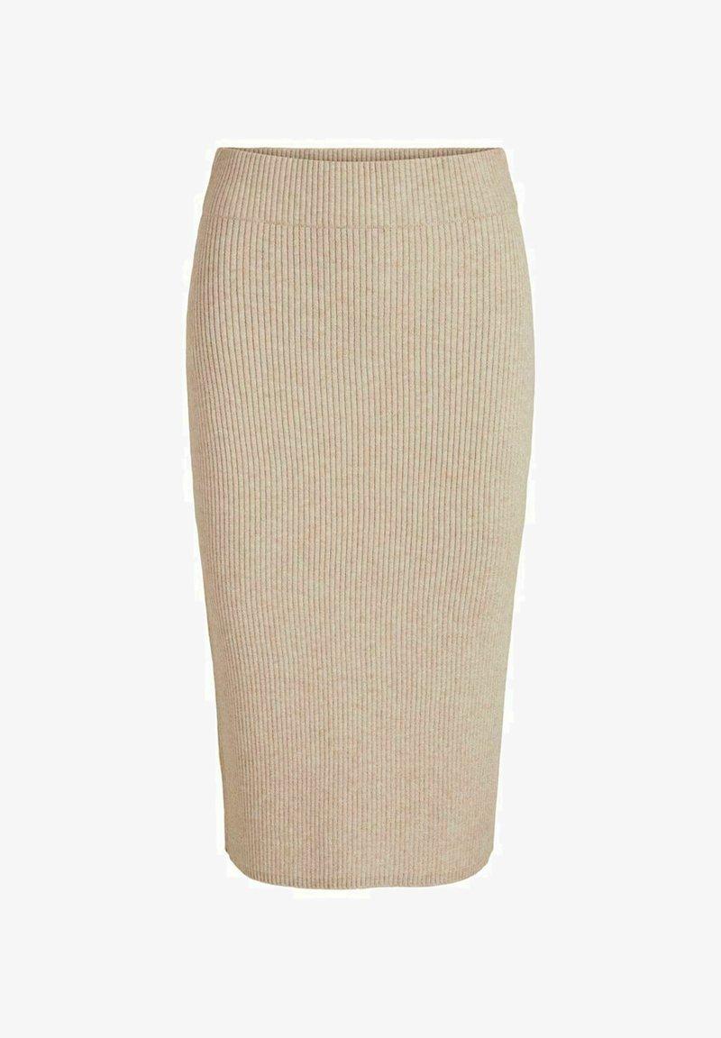 Vila - VIRIL PENCIL SKIRT - Pencil skirt - natural melange