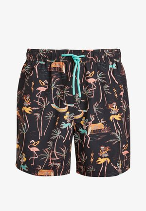 BLACK SKELETON PRINT SWIM SHORTS - Shorts da mare - black