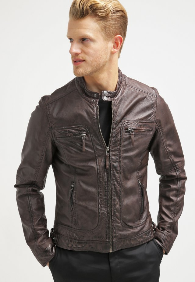 CASEY  - Leather jacket - dark brown