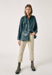 PULL&BEAR - Faux leather jacket - mottled dark green - 1