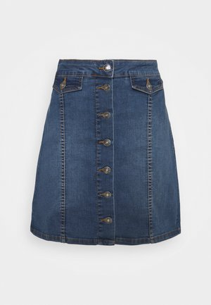 BYKISHA SKIRT - Denim skirt - mid blue denim