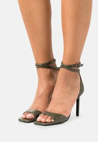 ONLY SHOES - ONLALYX CROC - High heeled sandals - olive - 0