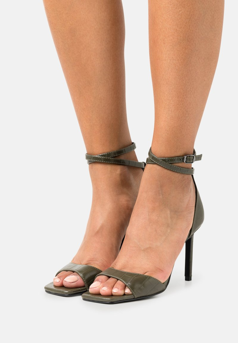 ONLY SHOES - ONLALYX CROC - High heeled sandals - olive