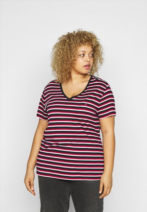 RELAXED V NECK - Basic T-shirt - ombre/red/white/blue