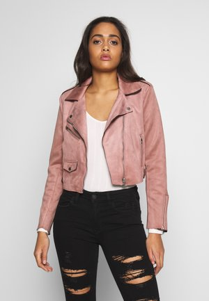 ONLSHERRY CROP  BONDED BIKER - Faux leather jacket - burlwood