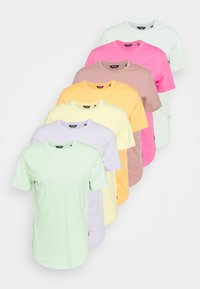 surf spray/pastel green/purple heather/pale banana/papaya/wood rose/azalea pink