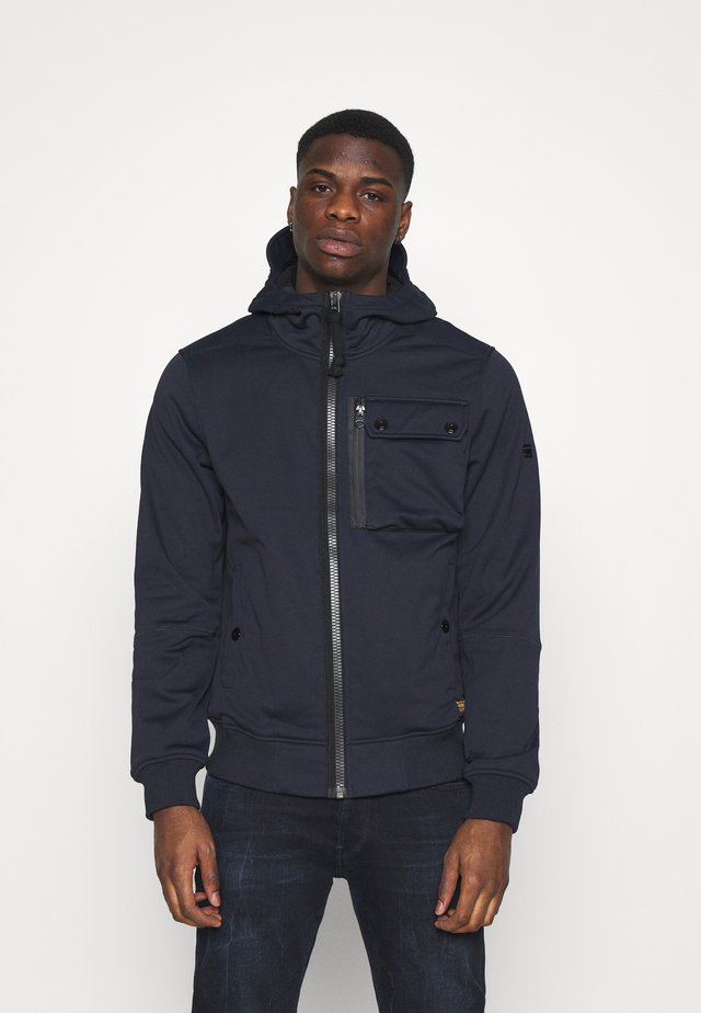 UTILITY HOODED - Soft shell jacket - mazarine blue/dark black