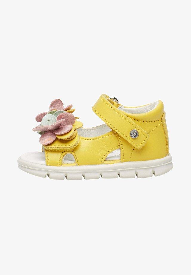 BALZO CON FIORI APPLICATI - Walking sandals - gelb