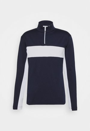 EMBOSSED HALF ZIP - Mikina - navy/white