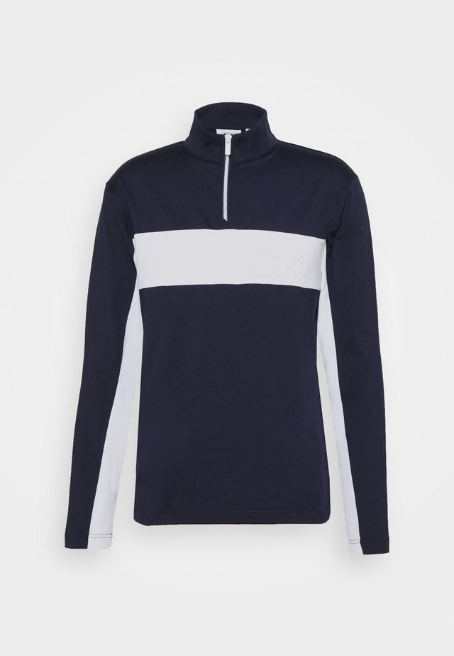 EMBOSSED HALF ZIP - Sweatshirt - navy/white