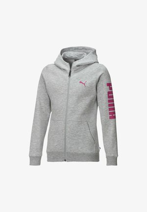 PIGE - Hoodie met rits - light gray heather-pink