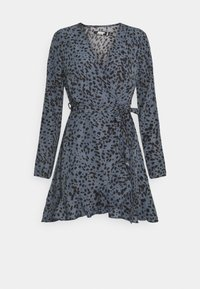 Missguided Petite - RUFFLE WRAP DRESS DALMATIAN - Day dress - slate blue - 0
