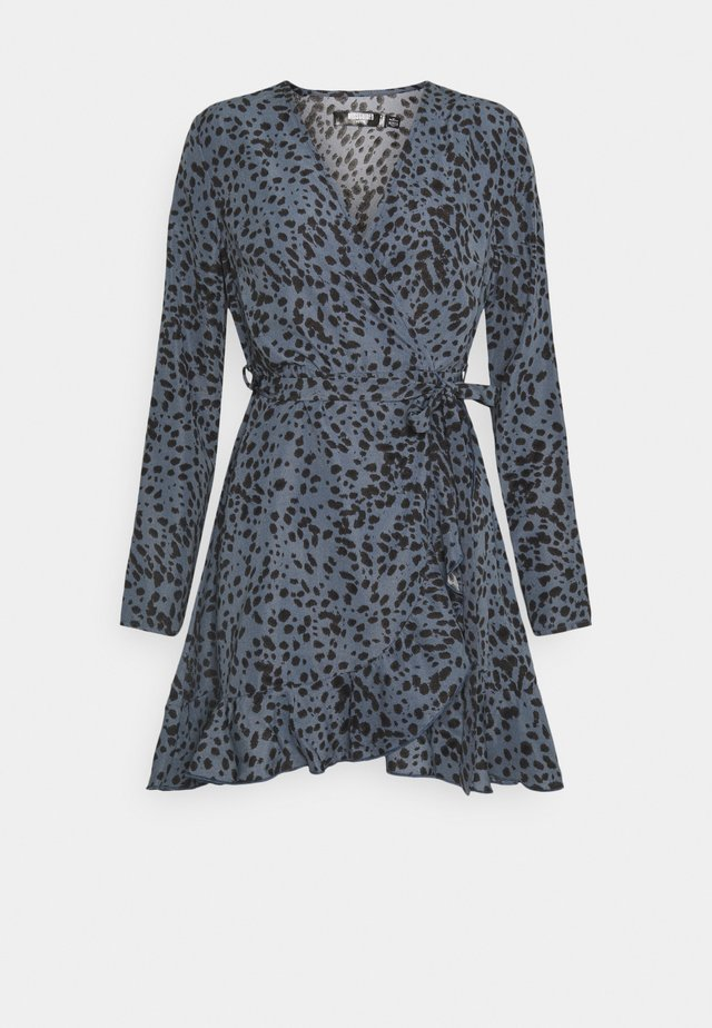 RUFFLE WRAP DRESS DALMATIAN - Vestido informal - slate blue