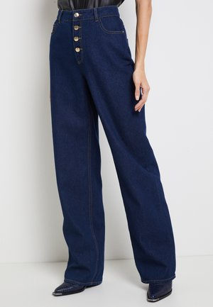 ONLMOLLY BLIFUTTON WIDE LEG - Flared Jeans - dark blue denim
