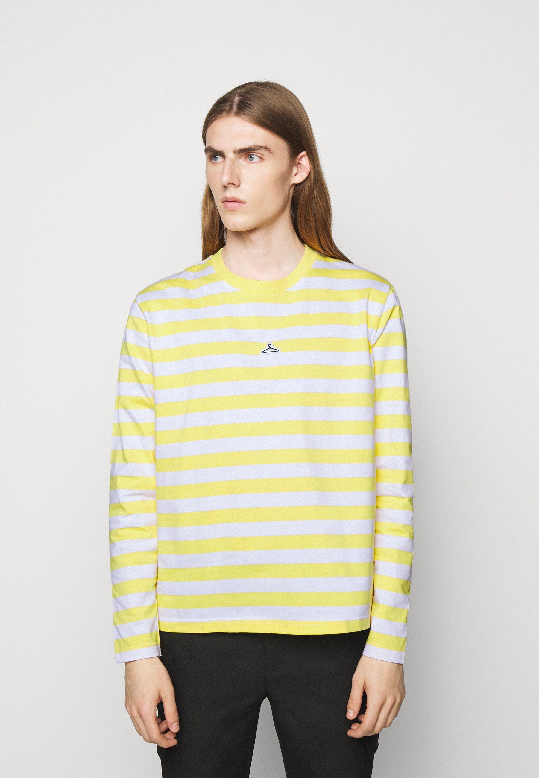 Men HANGER STRIPED LONGSLEEVE UNISEX - Long sleeved top - yellow/white