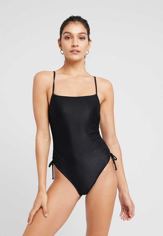 STRAIGHT NECK GATHERED ONE PIECE FULL - Bañador - black
