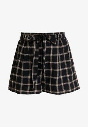 PLAID TIE FRONT - Shorts - black