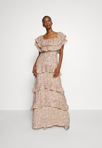 Maya Deluxe - BARDOT ALL OVER SEQUIN MAXI DRESS WITH RUFFLES - Vestido de fiesta - taupe blush - 1
