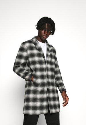 MIX MONO BLUR CHECK  - Classic coat - black