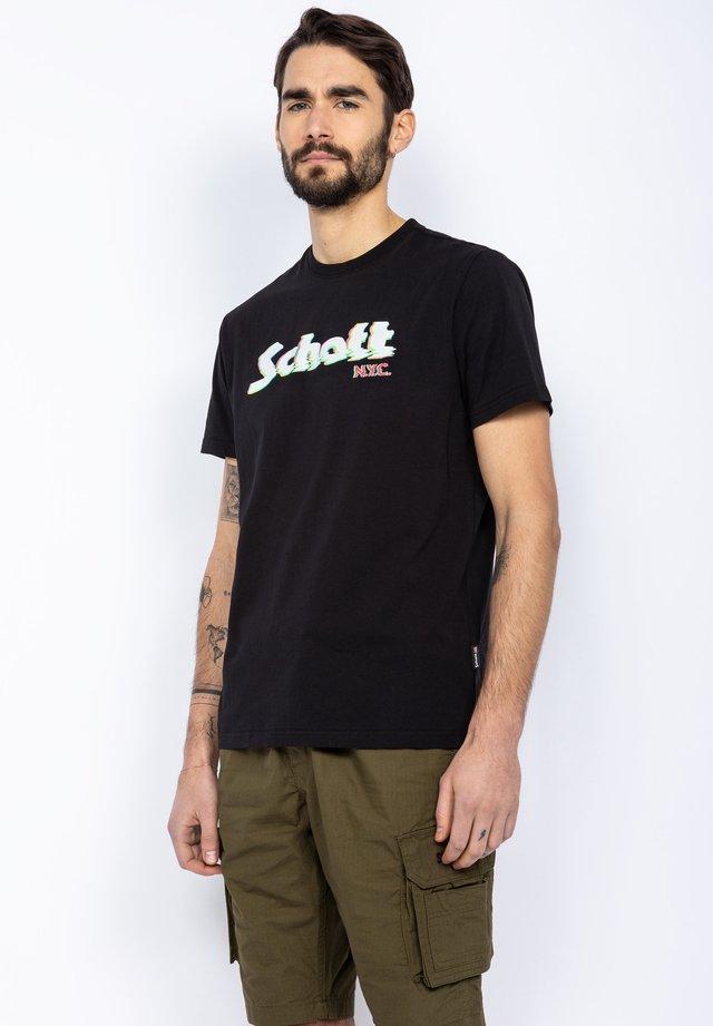 RAS DU COU AVEC LOGO IMPRIMÉ - Print T-shirt - noir