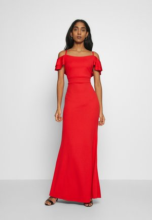 FRILL SLEEVE MAXI DRESS - Gallakjole - coral