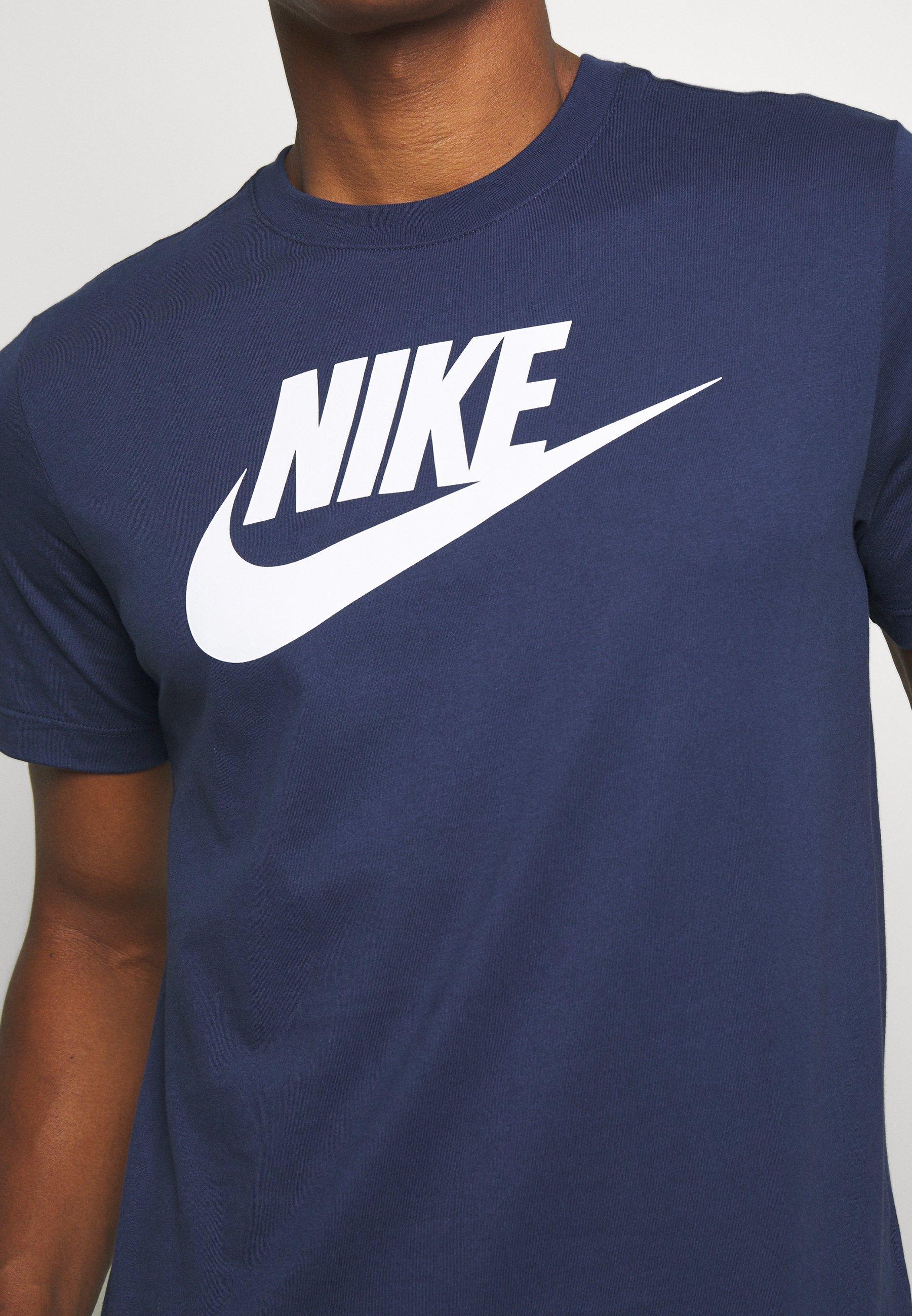 Nike Sportswear Tee Icon Futura - T-shirts Med Print Midnight Navy/white/mørkeblå